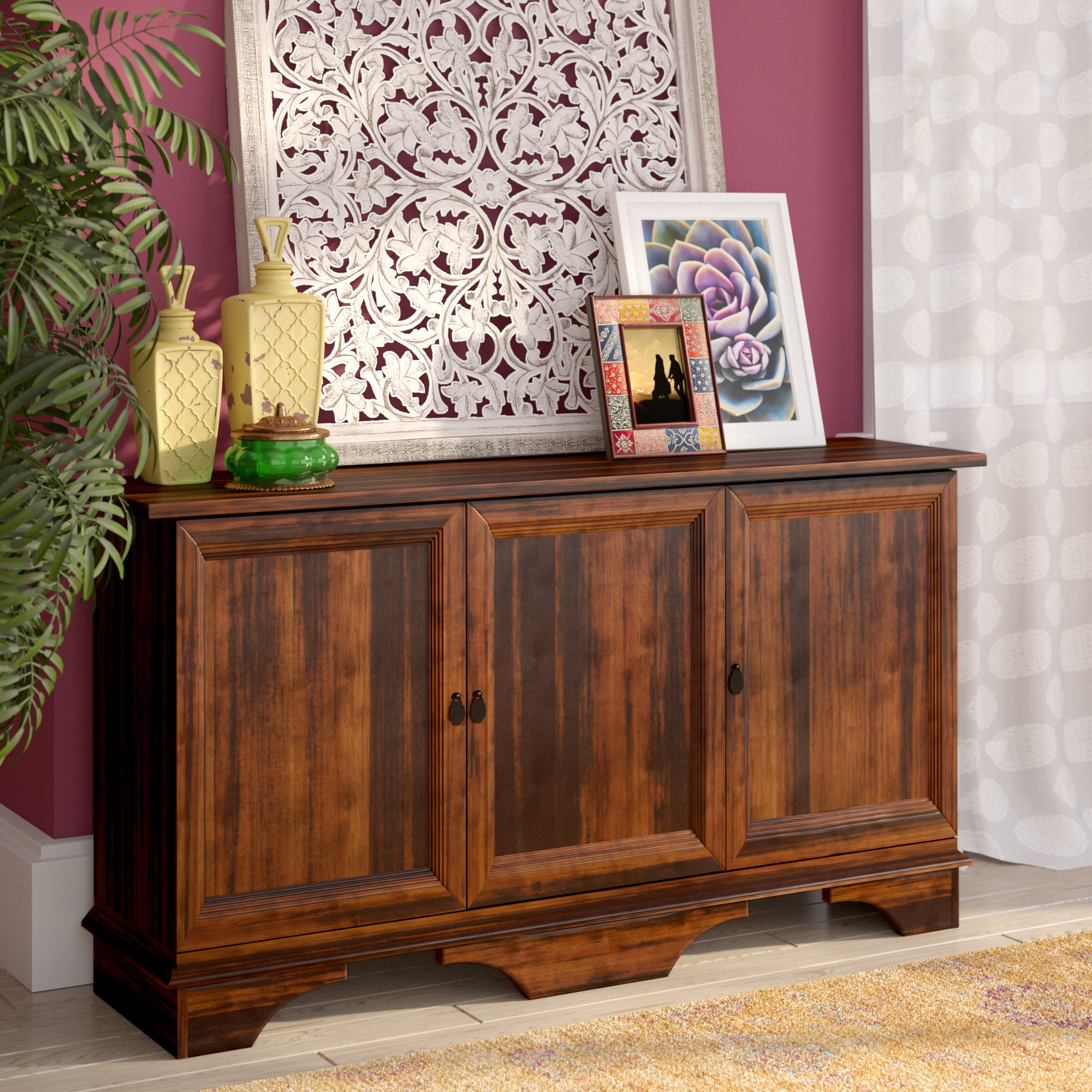 Most Popular Barn Wood Rosendale Carved Accent Ashley Furniture Glass Intended For Kattie 4 Door Cabinets (View 13 of 20)