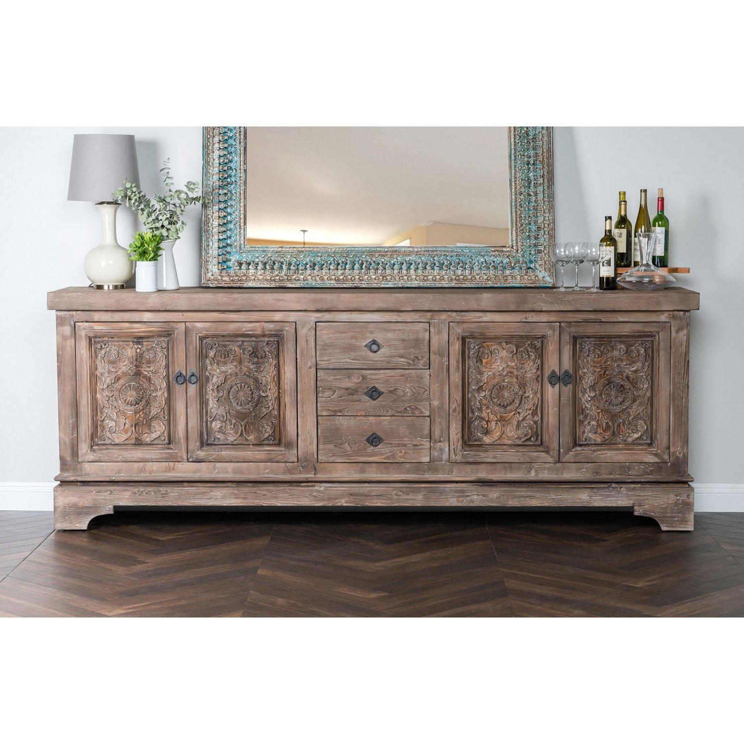 Most Popular Chalus Sideboards Within Allen Rustic Taupe Reclaimed Pine 106 Inch Sideboard (View 18 of 20)