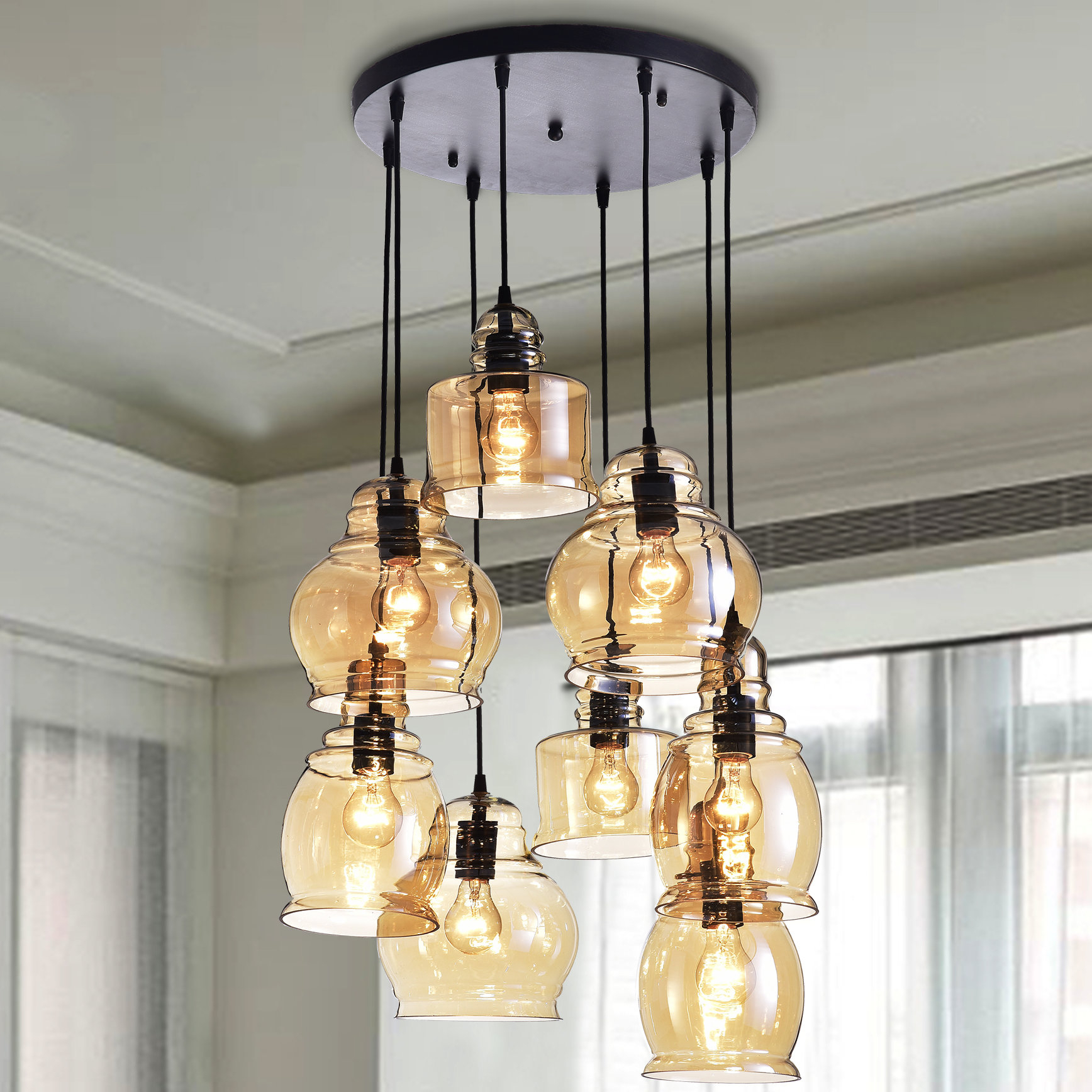 Most Popular Cherrie 8 Light Cluster Bell Pendant Intended For Pruett Cognac Glass 8 Light Cluster Pendants (View 8 of 20)