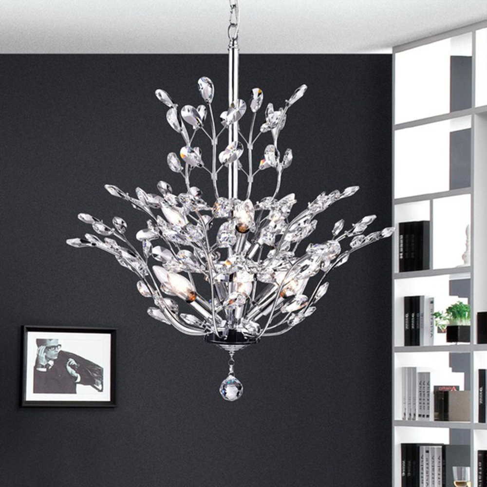Most Popular Clea 3 Light Crystal Chandeliers Inside Brookleigh Leaf 9 Light Candle Style Chandelier (View 16 of 20)