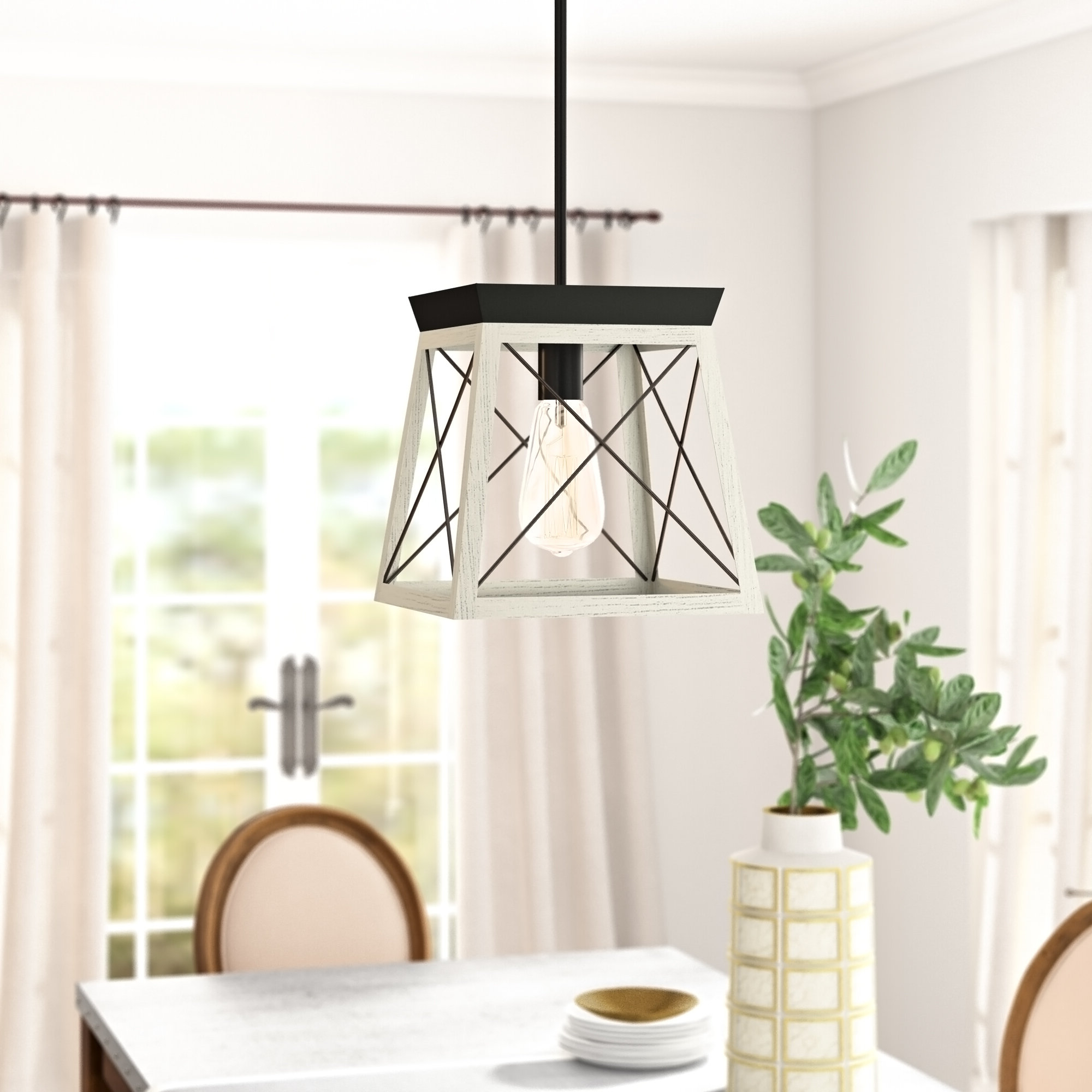 Most Popular Delon 1 Light Lantern Geometric Pendant Throughout Delon 1 Light Lantern Geometric Pendants (Gallery 4 of 20)