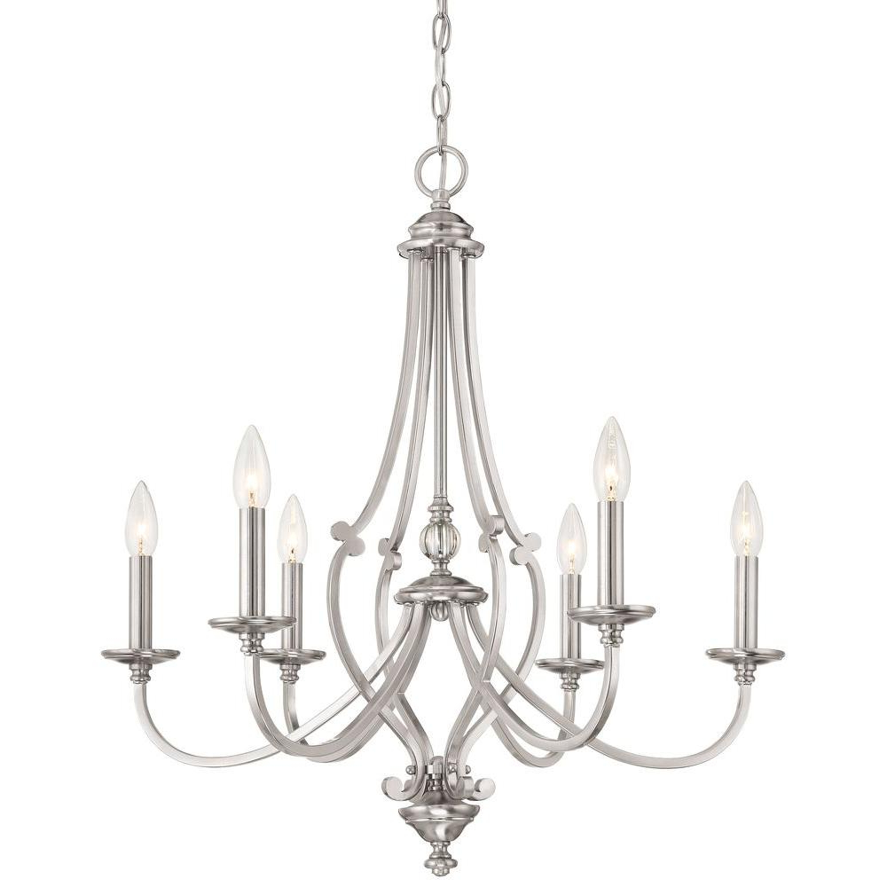 Most Popular Diaz 6 Light Candle Style Chandeliers Regarding Minka Lavery Savannah Row 6 Light Brushed Nickel Chandelier (View 16 of 20)