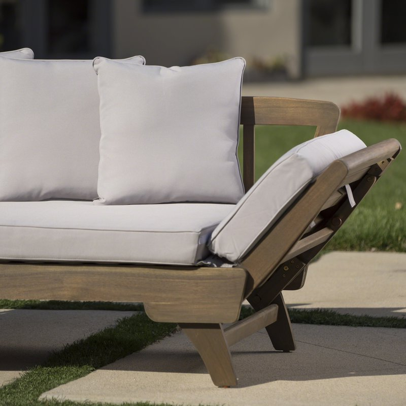 Most Popular Ellanti Teak Patio Daybed With Cushions Regarding Patio Daybeds With Cushions (View 6 of 20)