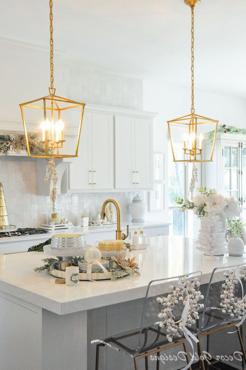 Most Popular Gold Light Pendants Beautiful Holiday Kitchen (View 15 of 20)