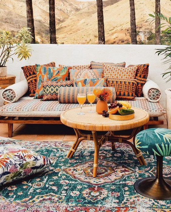 Most Popular Greening Outdoor Daybeds With Ottoman & Cushions Pertaining To 57 Beautiful Bohemian Patio Designs – Digsdigs (View 19 of 20)