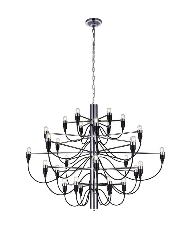 Most Popular Hayden 5 Light Shaded Chandeliers Pertaining To Cwi Lighting 9959P34 30 601 Hayden 30 Light Chandelier In Chrome (View 10 of 20)