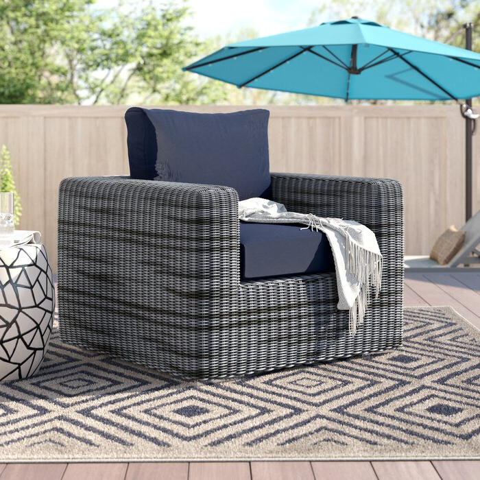 Most Popular Keiran Outdoor Patio Arm Chair With Cushions Intended For Keiran Patio Sofas With Cushions (View 11 of 20)