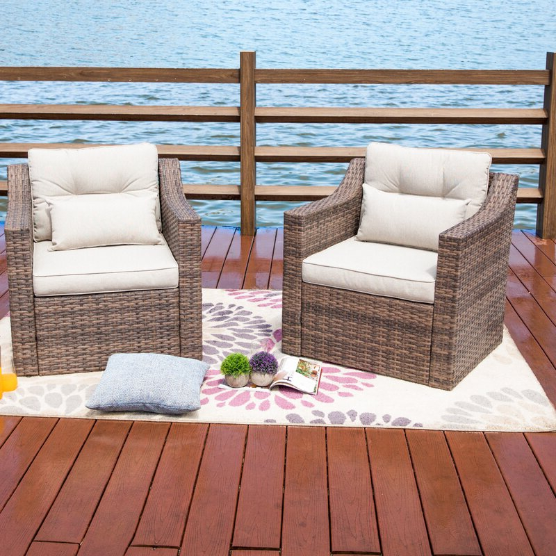 Most Popular Kunz Outdoor Wicker Patio Chair With Cushions For Kunz Loveseats With Cushions (View 11 of 20)