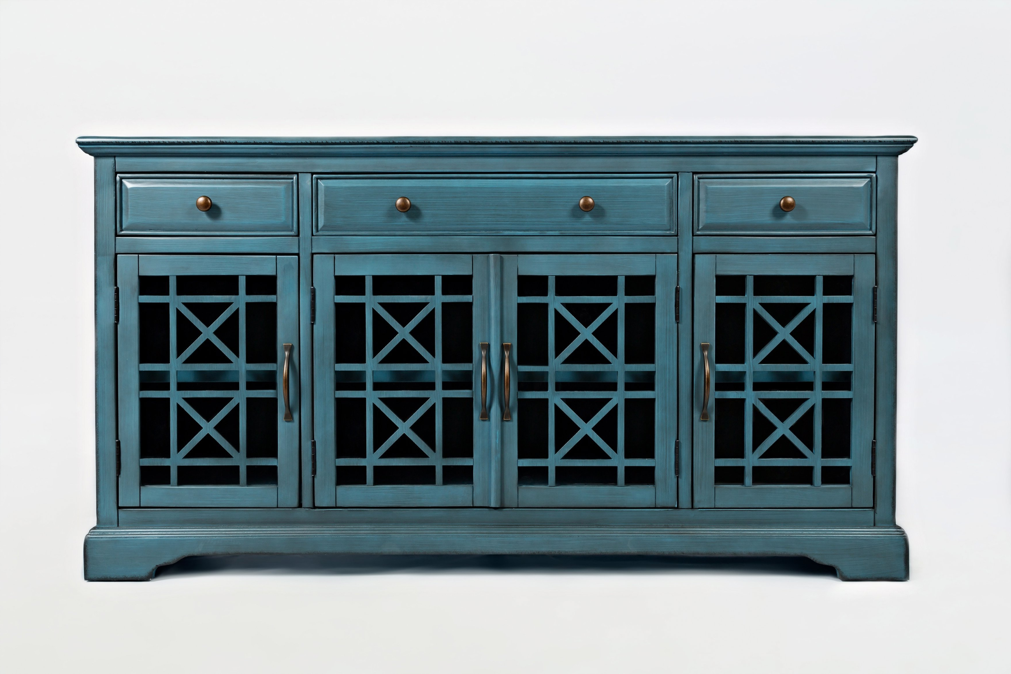 "Most Popular Mauldin 3 Door Sideboards Pertaining To Wooden 60"" Media Unit With 3 Drawers And 4 Doors, Antique (Gallery 5 of 20)"