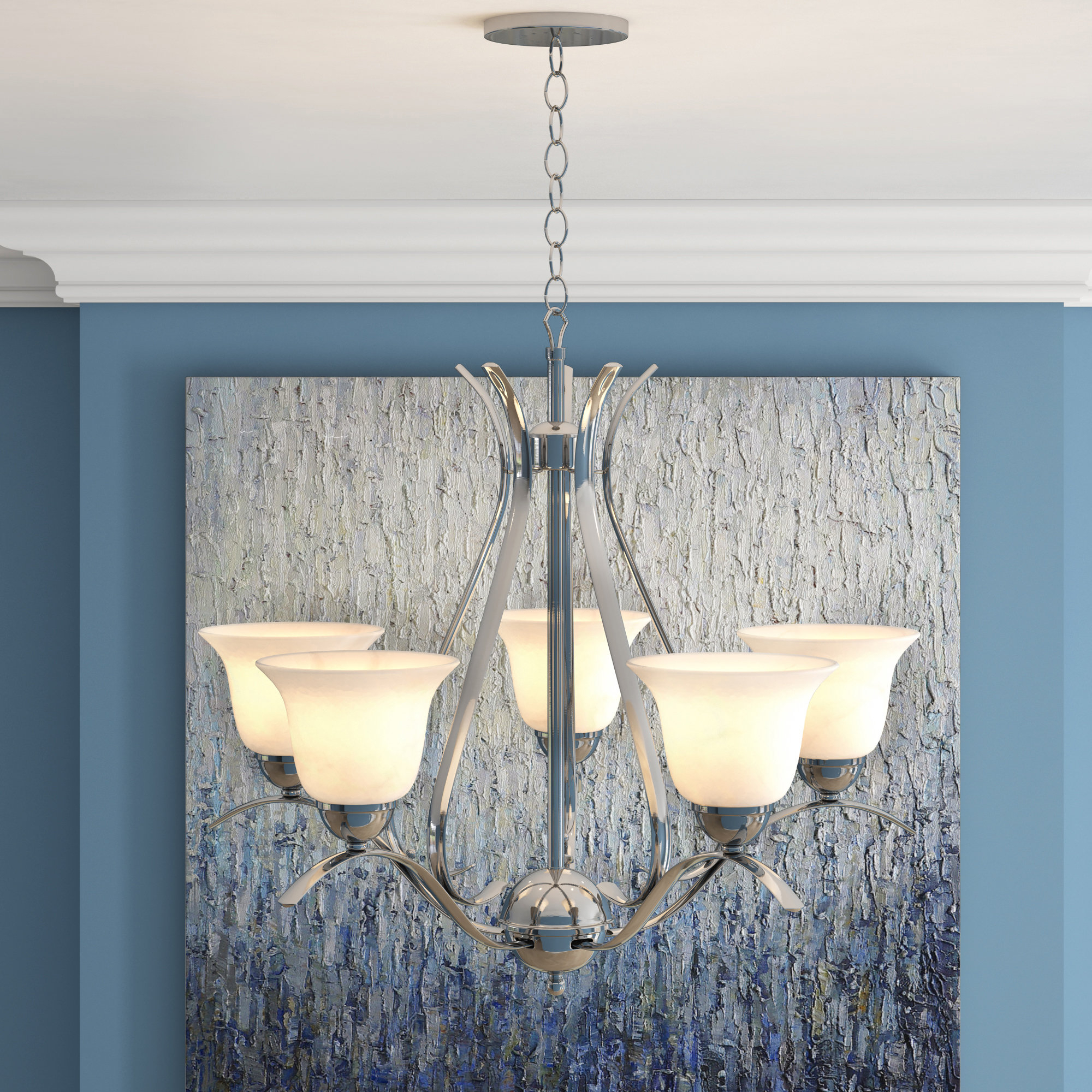 Most Popular Newent 5 Light Shaded Chandeliers Within Newent 5 Light Shaded Chandelier (Gallery 1 of 20)