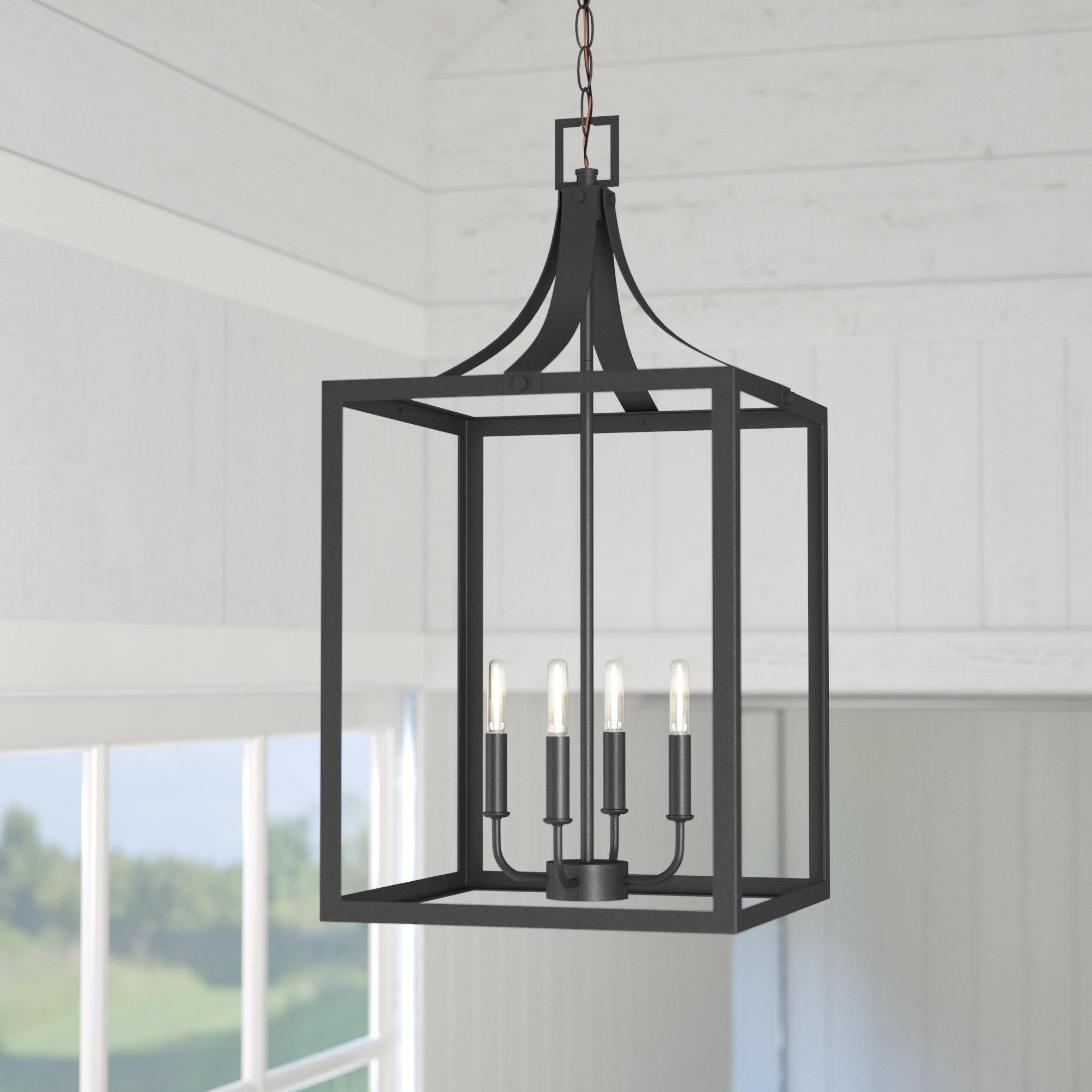 Most Popular Sherri Ann 4 Light Foyer Pendant Pertaining To Sherri Ann 3 Light Lantern Square / Rectangle Pendants (View 7 of 20)