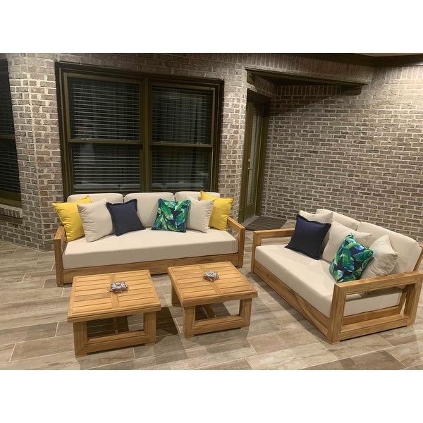 Most Popular Shop Safavieh Couture Outdoor Montford Teak Brown/ Beige 3 Intended For Montford Teak Patio Sofas With Cushions (View 11 of 20)