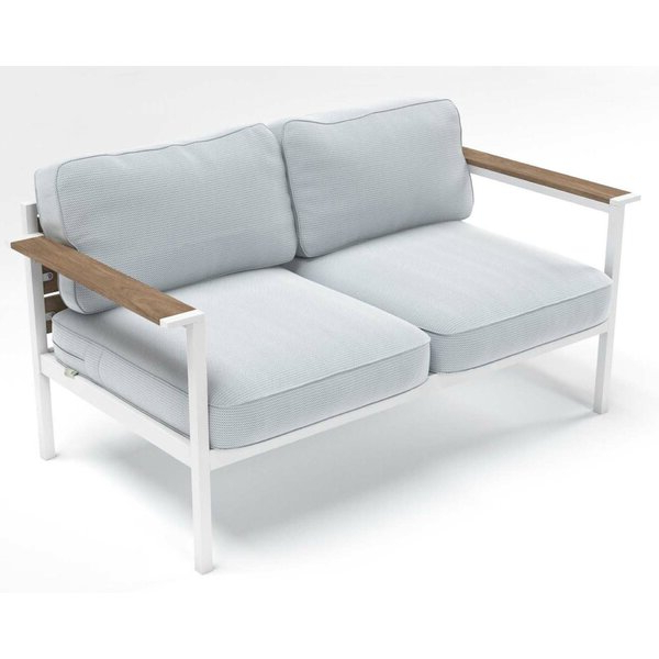 Most Popular Sylvania Outdoor Loveseats For Outdoor Steel And Wood Framed Loveseat With Cushions (View 6 of 20)