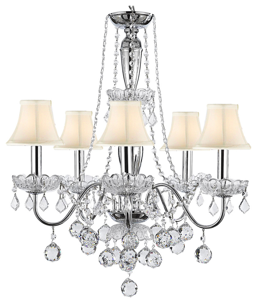 Most Popular Thresa 5 Light Shaded Chandeliers With 5 Lights Crystal Chandelier With White Shades (View 9 of 20)