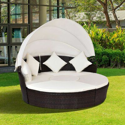 Most Popular World Menagerie Sharleen Outdoor Patio Furniture Round Pertaining To Fansler Patio Daybeds With Cushions (View 14 of 20)