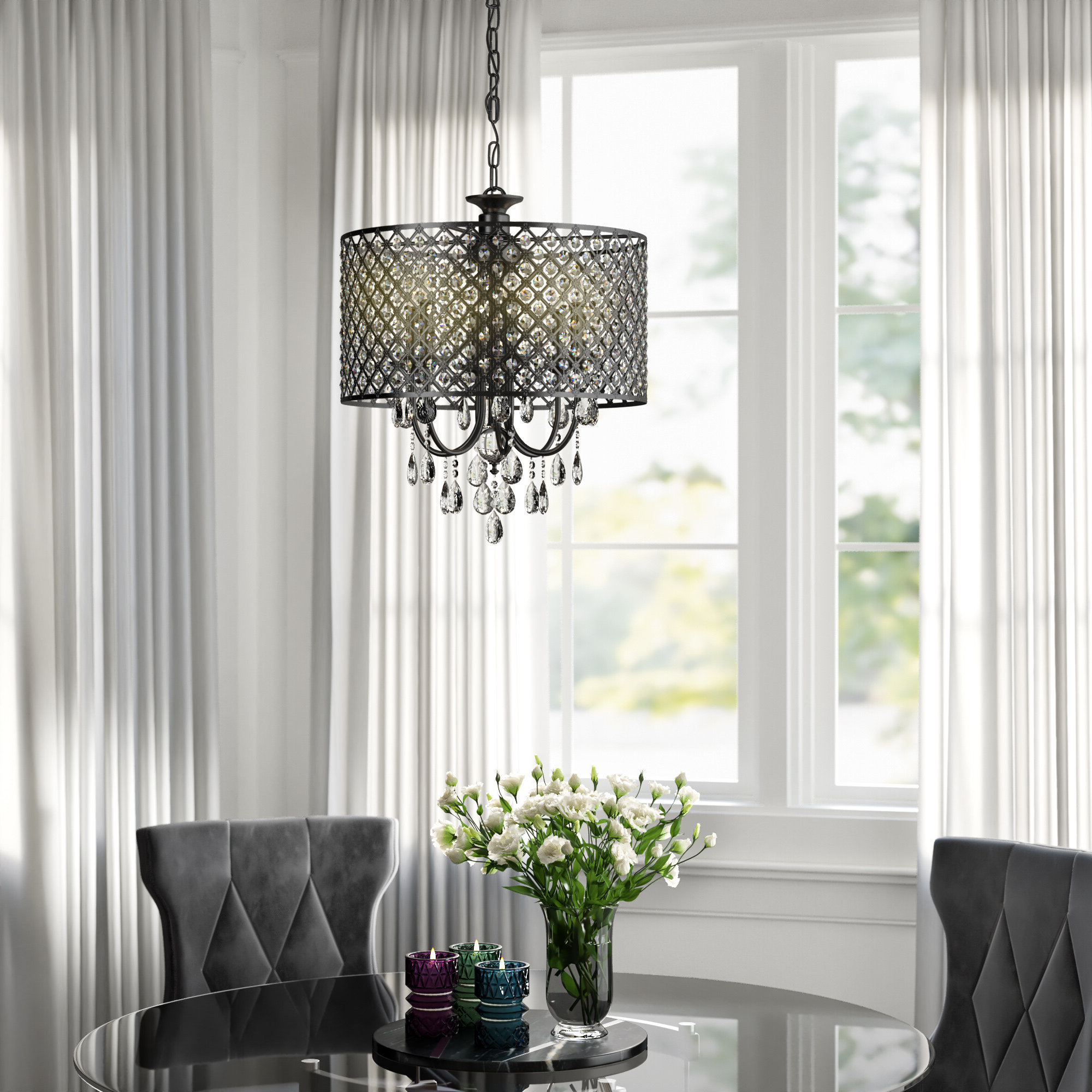 Most Recent Albano 4 Light Crystal Chandeliers Throughout Mckamey 4 Light Crystal Chandelier (Gallery 8 of 20)