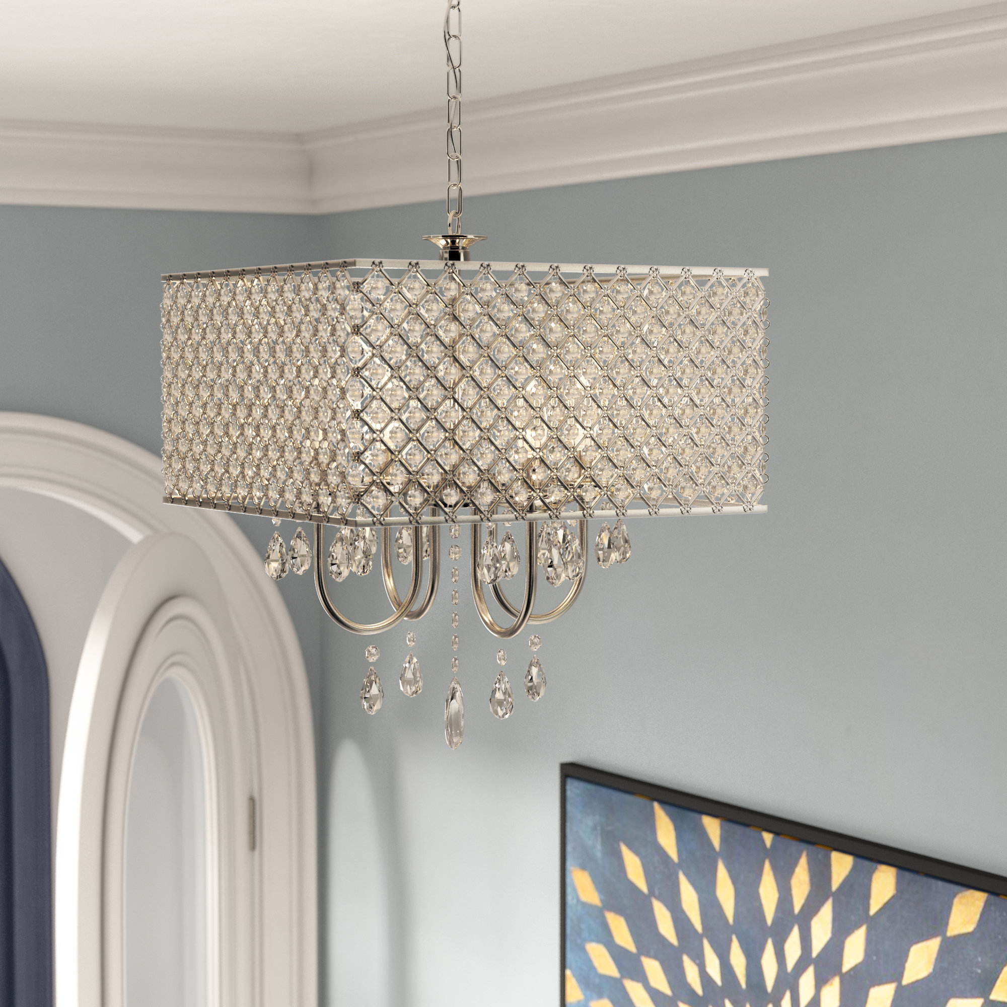 Most Recent Aurore 4 Light Crystal Chandeliers Within Garrin Square 4 Light Crystal Chandelier (View 15 of 20)
