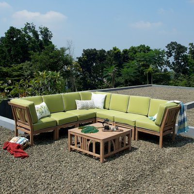 Most Recent Bay Isle Home Scot Teak Patio Sectional With Cushions In Regarding Antonia Teak Patio Sectionals With Cushions (View 10 of 20)