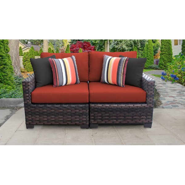 Most Recent Ellison Patio Sectionals With Cushions With Regard To Kathy Ireland Homes & Gardens River Brook 2 Piece Outdoor (View 14 of 20)