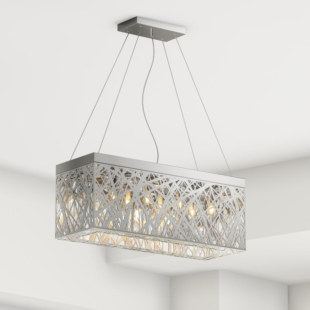 Most Recent Gracelyn 8 Light Kitchen Island Pendants Inside Layla 8 Light Chrome Indoor Crystal Rectangular Pendant (View 12 of 20)