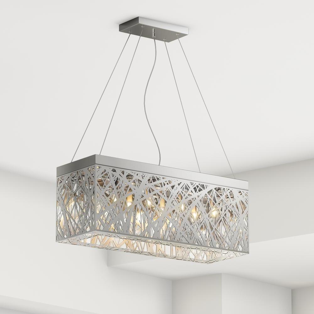 Most Recent Gracelyn 8 Light Kitchen Island Pendants Inside Layla 8 Light Chrome Indoor Crystal Rectangular Pendant (Gallery 12 of 20)
