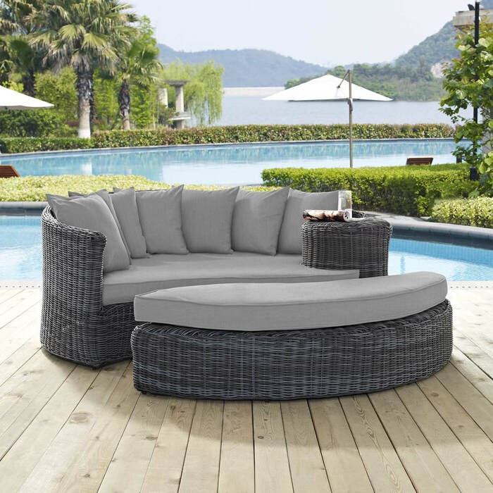 Most Recent Keiran Patio Daybed With Cushions In Keiran Patio Sofas With Cushions (View 13 of 20)
