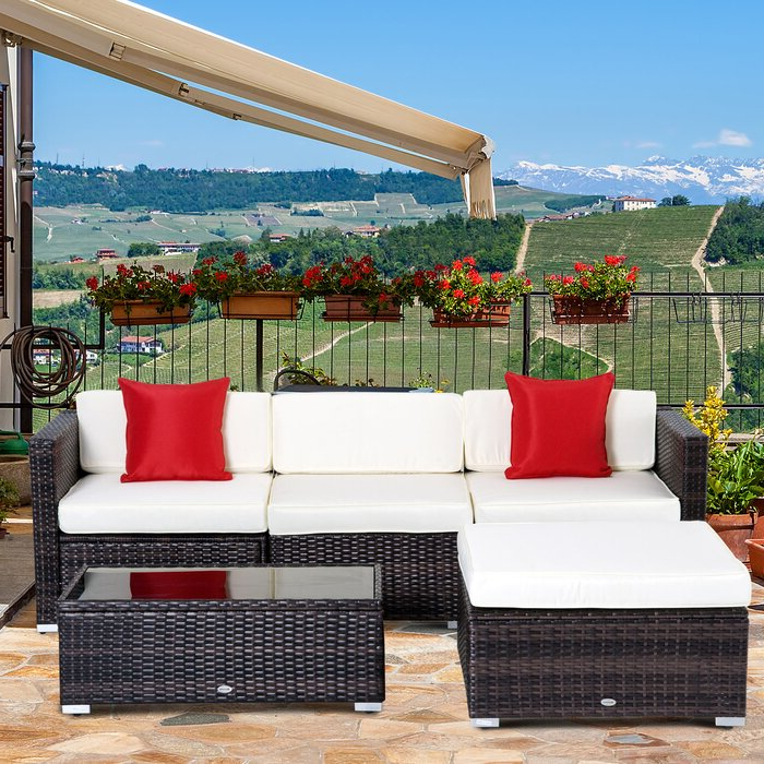 Most Recent Larsen Patio Sectionals With Cushions For Hazen 5 Piece Rattan Sectional Seating Group With Cushions (View 11 of 20)