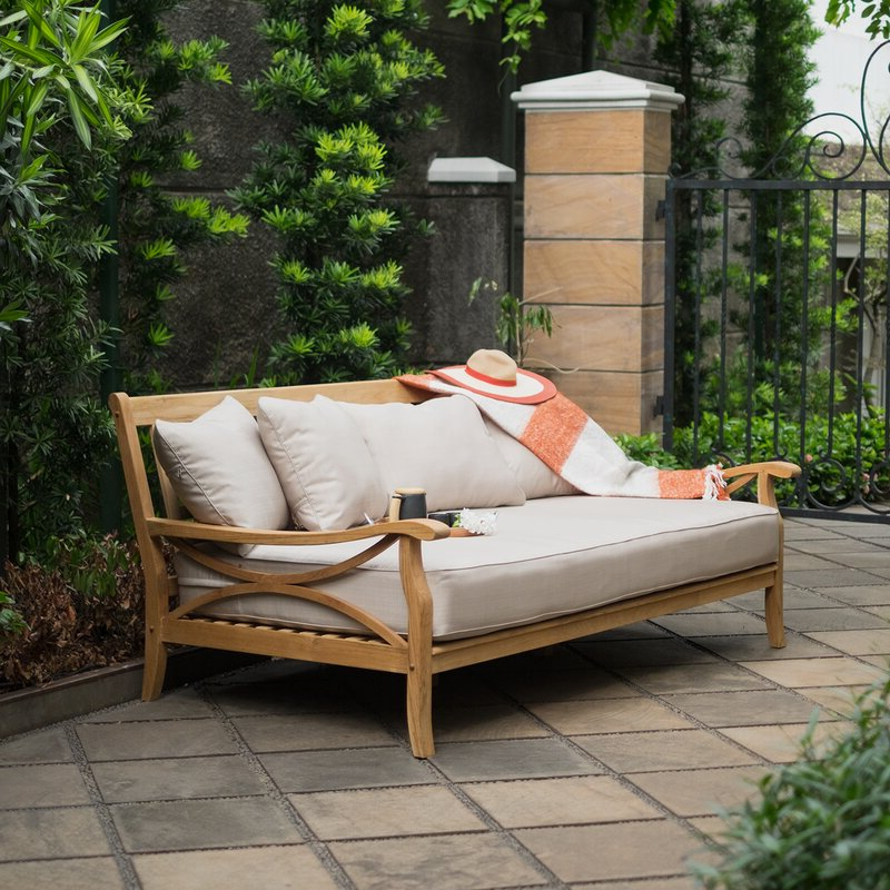 Most Recent Patio Daybeds With Cushions Pertaining To Brunswick Teak Patio Daybed With Cushions (View 10 of 20)