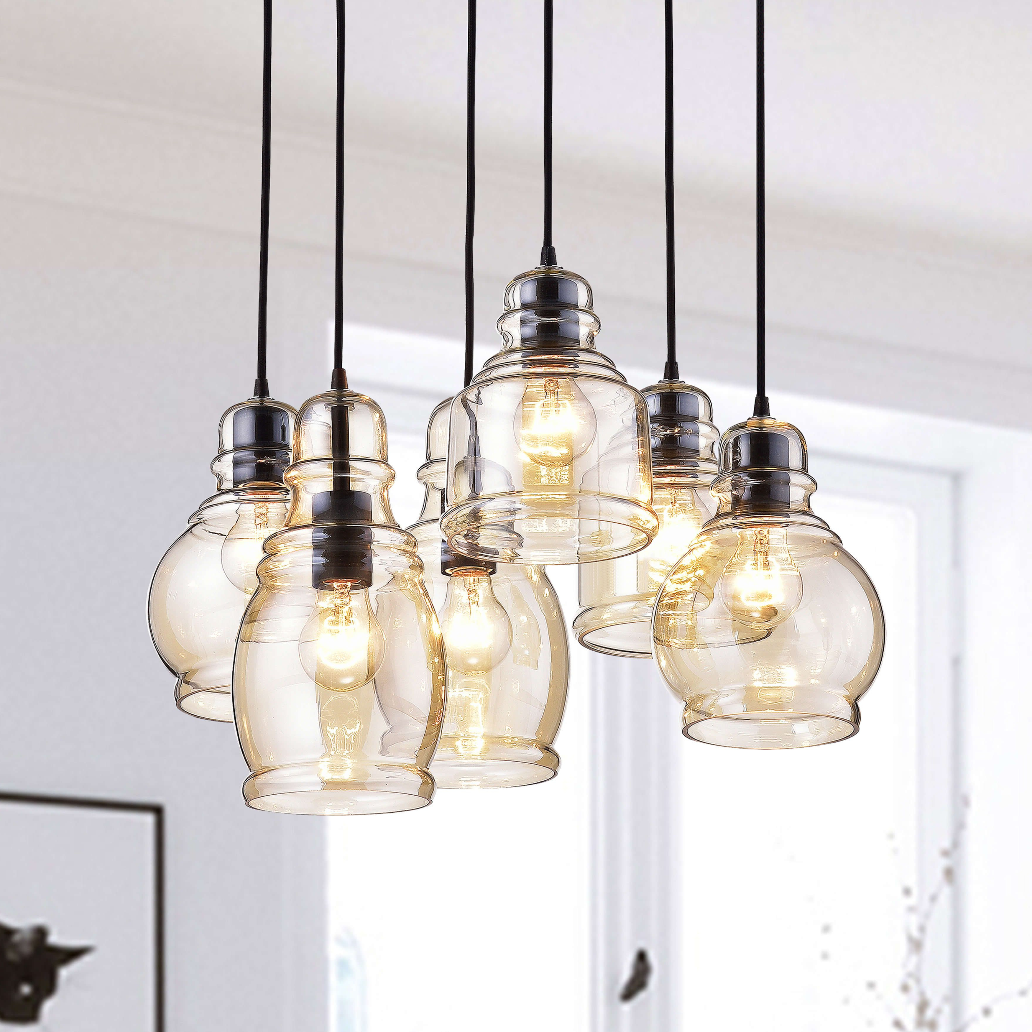 Most Recent Pruett Cognac Glass 8 Light Cluster Pendants Throughout Mariana Cognac Glass Antique Black Rectangular Base 6 Light (View 9 of 20)