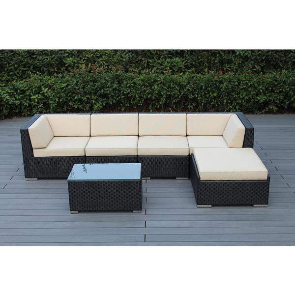 Most Recent Shop Ohana Outdoor Patio 6 Piece Black Wicker Sofa Sectional Inside Tess Corner Living Patio Sectionals With Cushions (Gallery 5 of 20)
