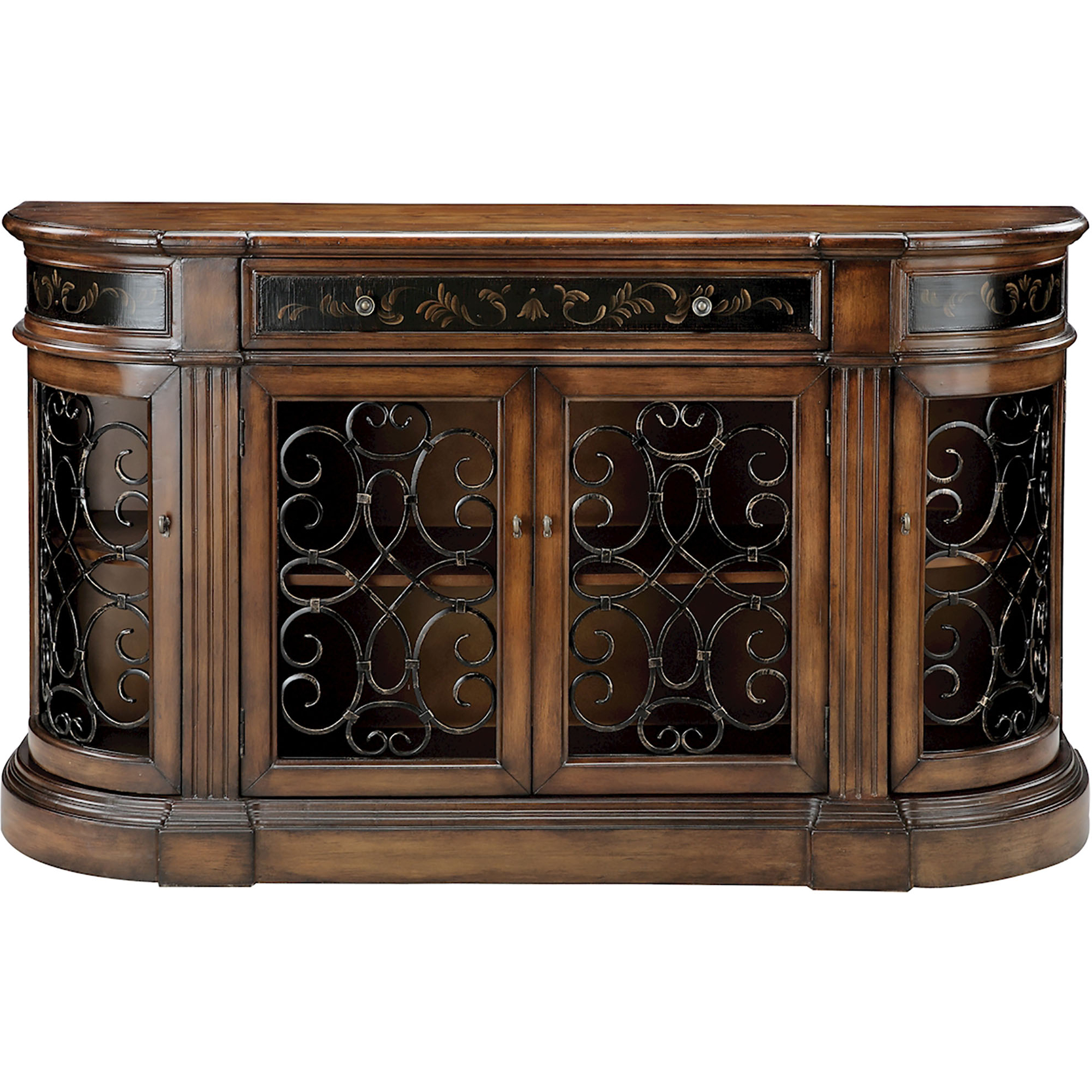 Most Recent Taylor Cabinet In Distressed Wood W/ Iron Scrollwork With Regard To Kronburgh Sideboards (View 12 of 20)