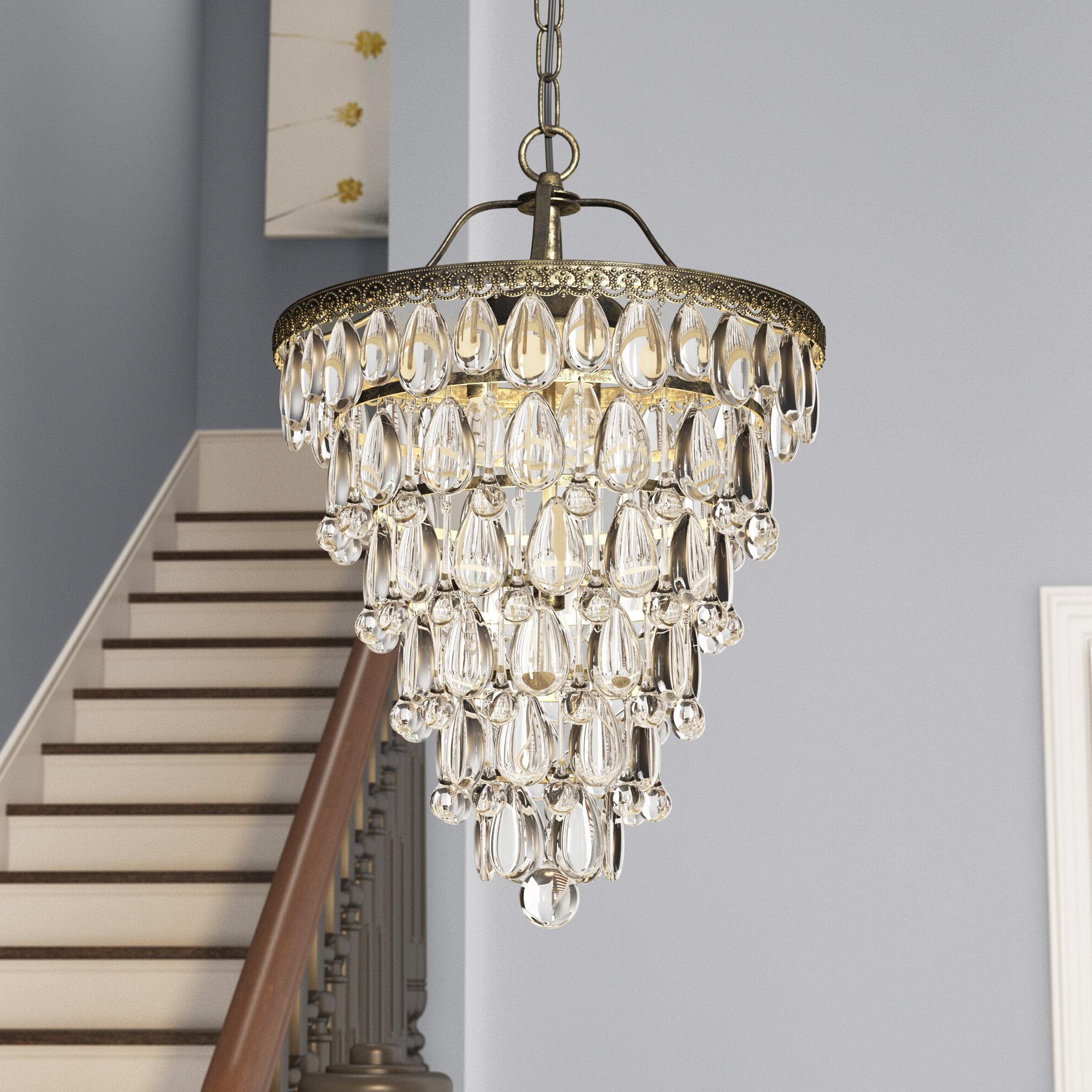 Most Recent Totnes 4 Light Crystal Chandelier Within Benedetto 5 Light Crystal Chandeliers (View 10 of 20)