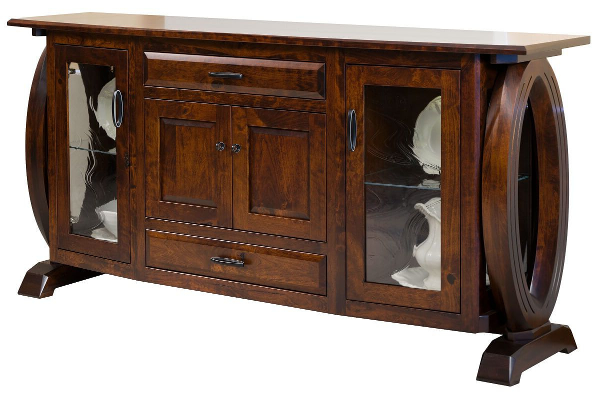 Most Recently Released Armelle Sideboards Intended For Armelle Dining Buffet With Glass Doors – Countryside Amish Furniture (View 17 of 20)