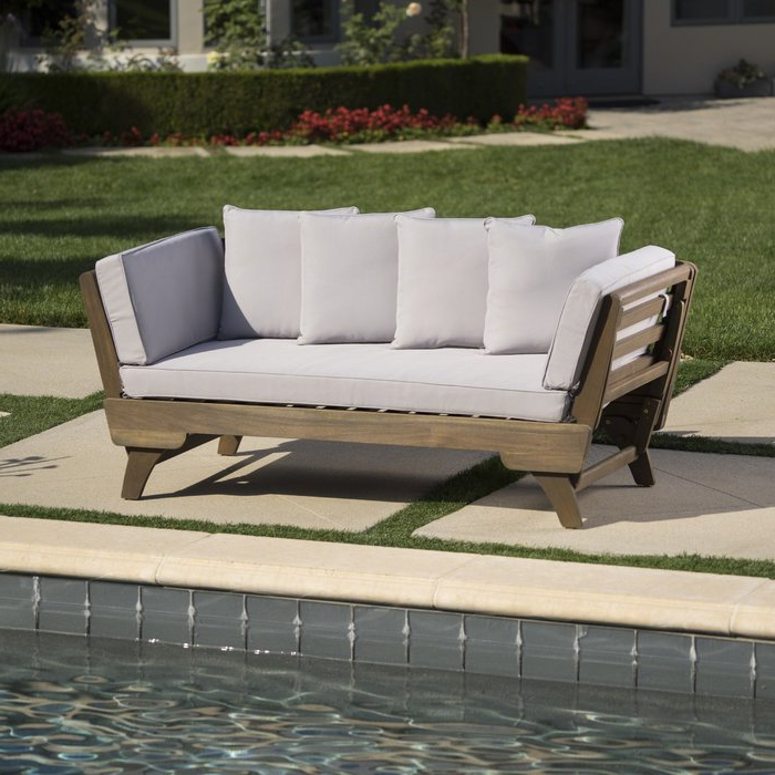 Most Recently Released Aubrie Patio Daybeds With Cushions With Regard To Ellanti Teak Patio Daybed With Cushions (View 12 of 20)