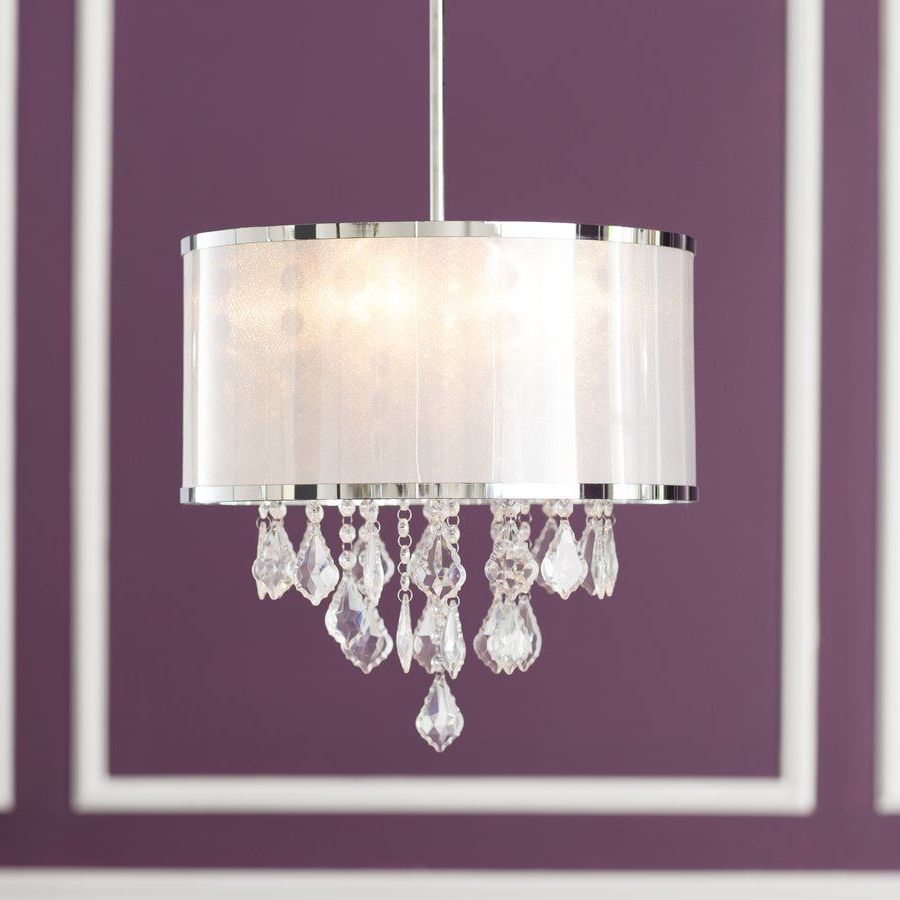 Most Recently Released Aurore 4 Light Crystal Chandeliers Inside Lindsey 4 Light Drum Chandelier (View 16 of 20)