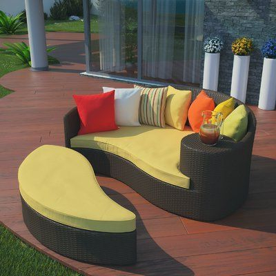 Most Recently Released Brayden Studio Greening Outdoor Daybed With Ottoman Throughout Greening Outdoor Daybeds With Ottoman & Cushions (Gallery 1 of 20)