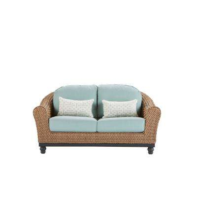 Most Recently Released Camden Light Brown Wicker Outdoor Loveseat With Sunbrella Canvas Spa  Cushions Regarding Mosca Patio Loveseats With Cushions (View 13 of 20)