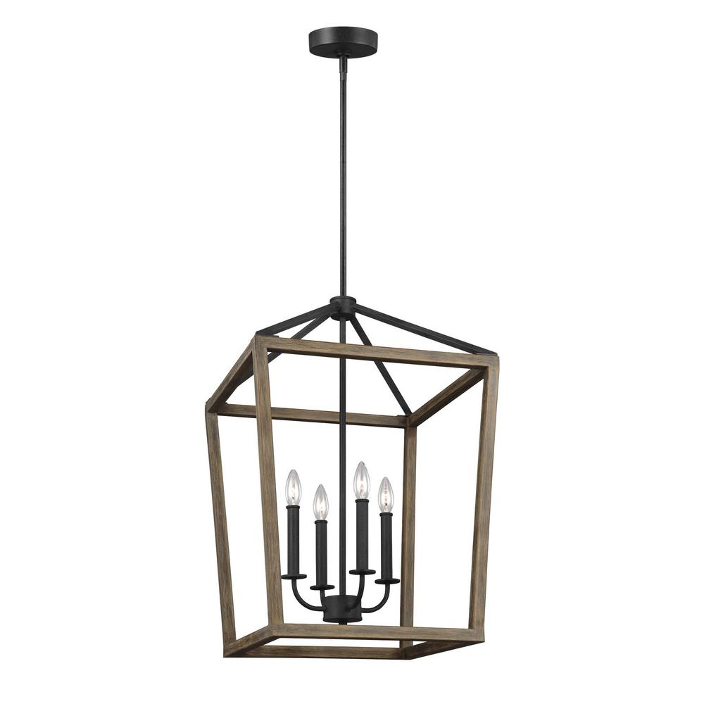 Most Recently Released Dailey 4 Light Drum Chandeliers Inside Feiss Gannet 18 In. W. 4 Light Weathered Oak Wood And Antique Forged Iron  Chandelier (Gallery 11 of 20)