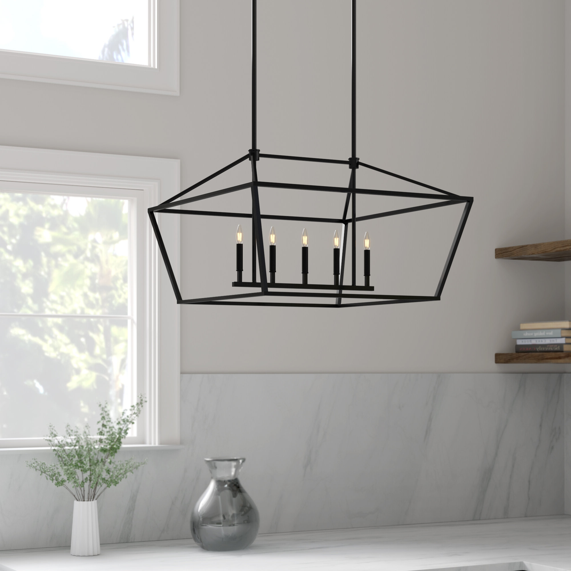 Most Recently Released Freemont 5 Light Kitchen Island Linear Chandeliers In Poisson Indigo 5 Light Kitchen Island Linear Pendant (Gallery 15 of 20)