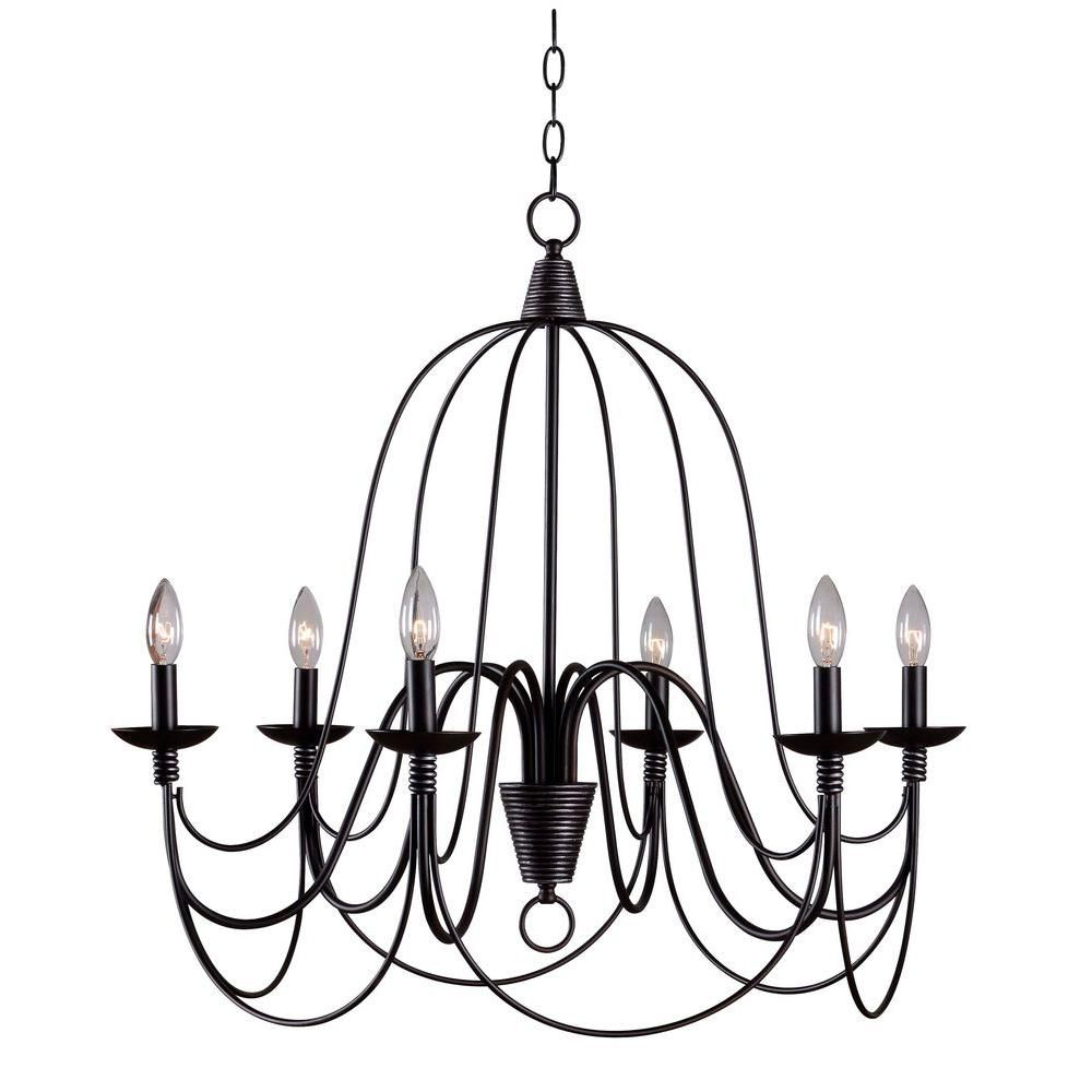 Most Recently Released Kenroy Home Pannier 6 Light Oil Rubbed Bronze With Silver In Watford 6 Light Candle Style Chandeliers (View 7 of 20)