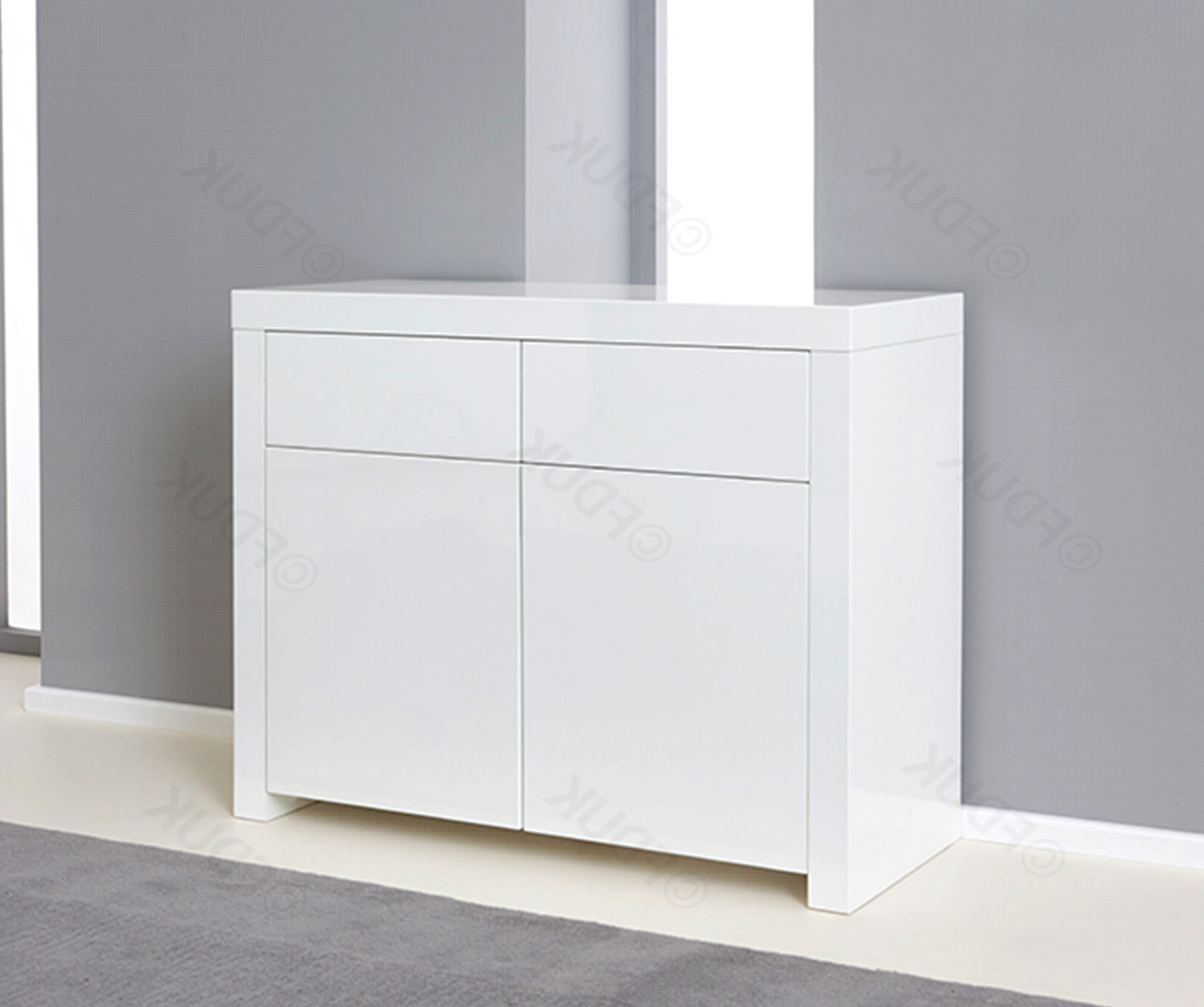 Most Recently Released Malibu 2 Door 4 Drawer Sideboards Throughout Mark Harris Hereford 2 Door 2 Drawer White High Gloss Sideboard (View 12 of 20)
