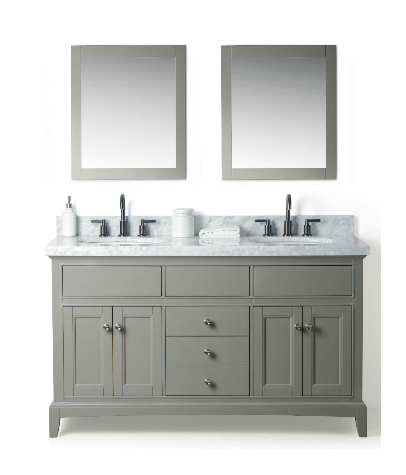 """Most Recently Released Mccall Solid Wood 61"""" Double Bathroom Vanity Set With Mirror Within Arminta Wood Sideboards (View 13 of 20)"""