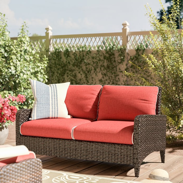 Most Recently Released Mosca Patio Loveseat With Cushions With Regard To Camak Patio Loveseats With Cushions (View 9 of 20)