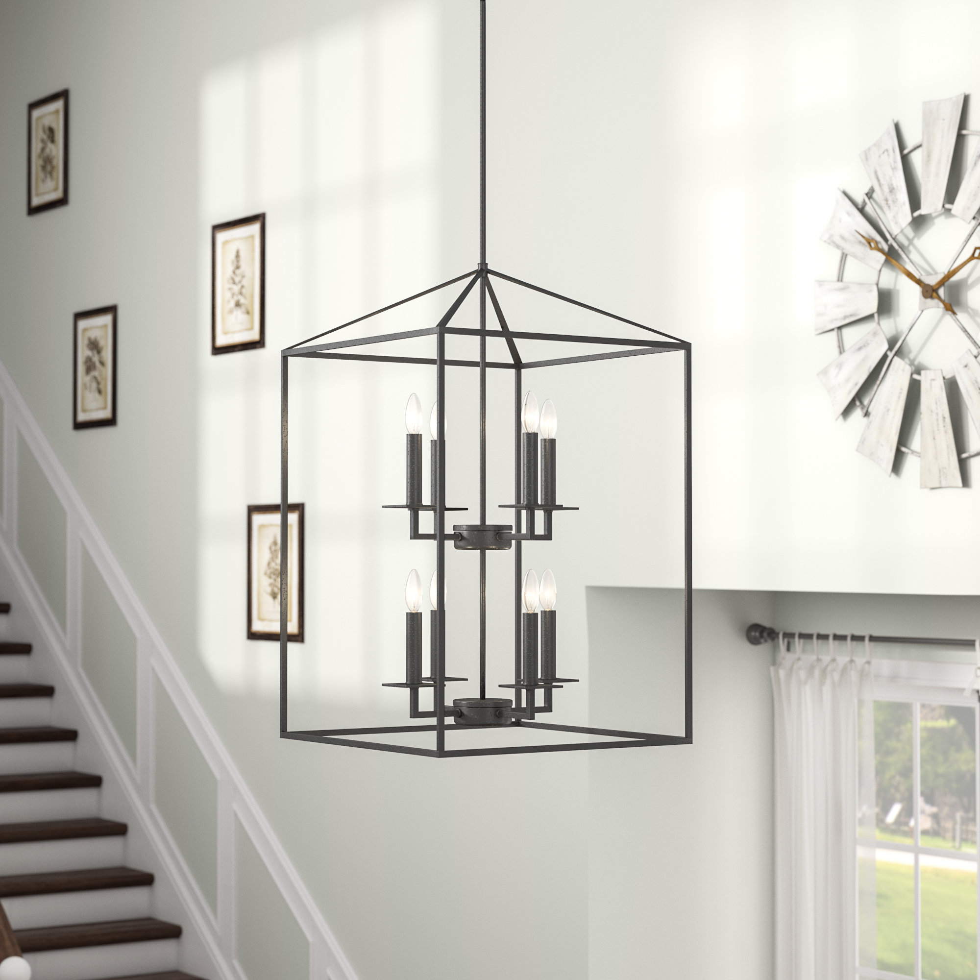 Most Recently Released Odie 8 Light Kitchen Island Square / Rectangle Pendants Inside Odie 8 Light Lantern Tiered Pendant (View 5 of 20)