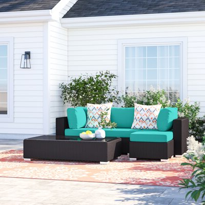 Most Recently Released Outdoor Patio Furniture Brentwood 5 Piece Rattan Sectional Set In Brentwood Patio Sofas With Cushions (View 16 of 20)