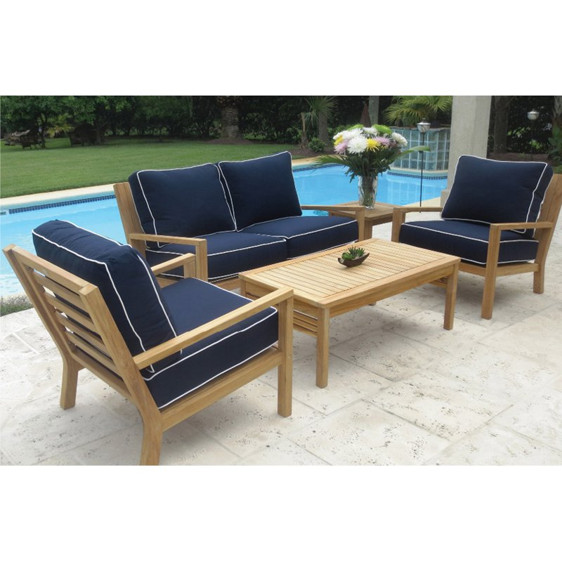 Most Recently Released Royal Teak Outdoor 5 Piece Coastal Loveseat And Chairs Intended For Elaina Teak Loveseats With Cushions (View 17 of 20)
