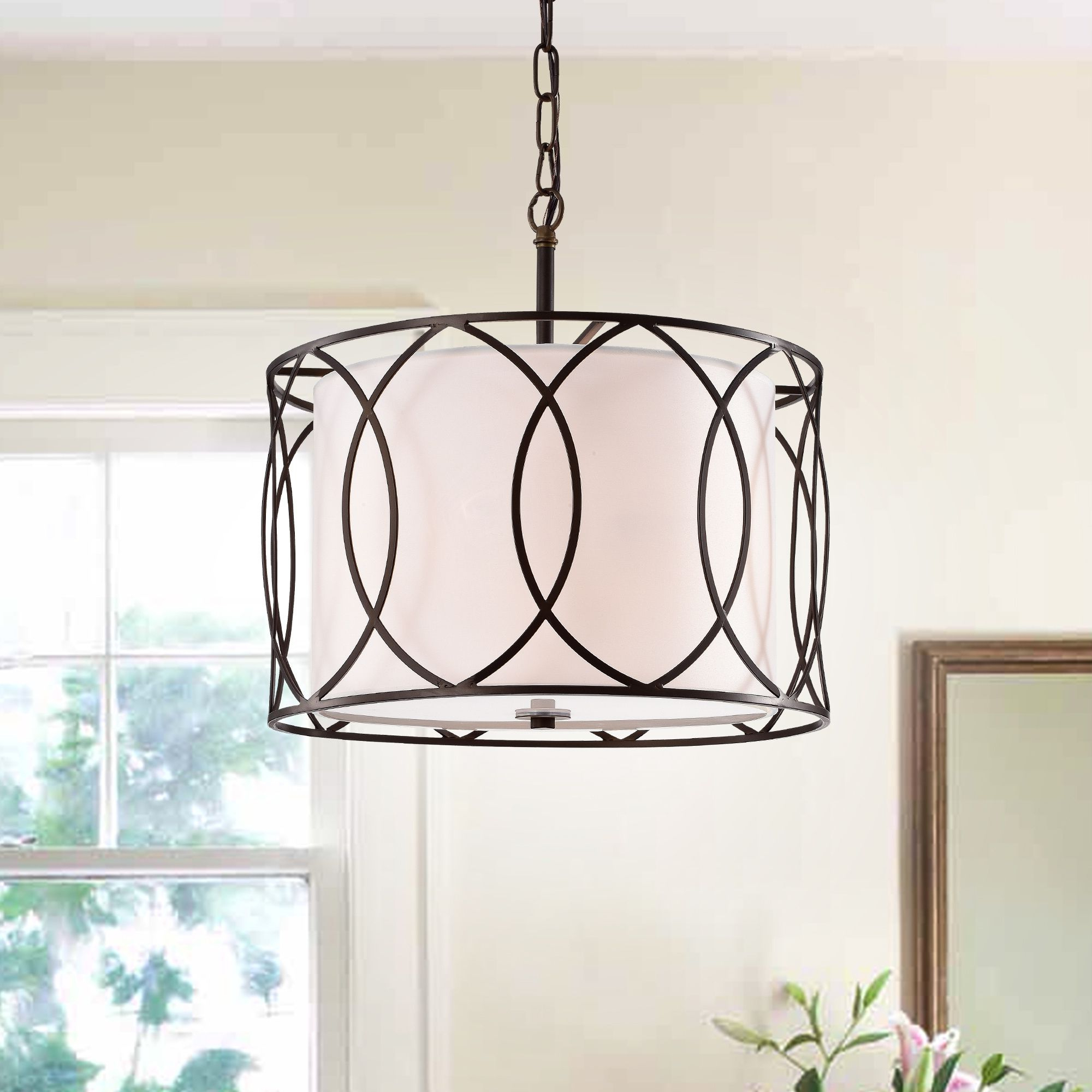 Most Recently Released Tadwick 3 Light Single Drum Chandeliers With Regard To Gisnao Antique Bronze 3 Light Caged Drum 16 Inch Pendant In (Gallery 13 of 20)
