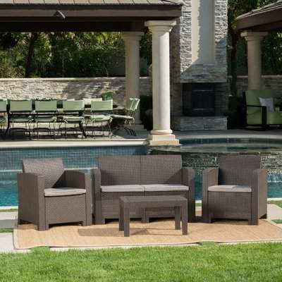 Most Recently Released Yoselin Patio Sofas With Cushions In Yoselin 4 Piece Sofa Seating Group With Cushions (Gallery 14 of 20)
