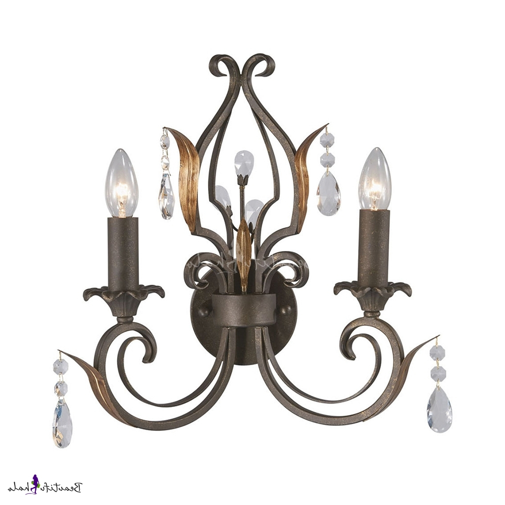 Most Up To Date Candle Dining Room Sconce Light With Clea Crystal Iron 2 Lights American Rustic Wall Light With Regard To Clea 3 Light Crystal Chandeliers (View 14 of 20)