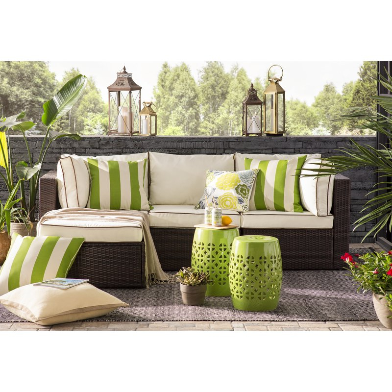 Most Up To Date Clifford Patio Sofas With Cushions Regarding Burruss Patio Sectional With Cushions (View 19 of 20)